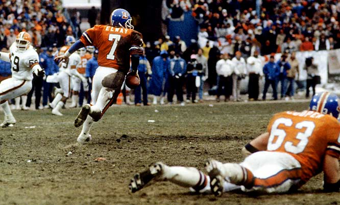 With just over five minutes remaining in the AFC title game, Denver's chances of advancing to Super Bowl XXI appeared as bleak as the frigid weather conditions. After a muffed kickoff return placed the Broncos on their own 2, those prospects seemed impossible. But John Elway guided the visitors on a 15-play, 98-yard drive for a game-tying touchdown with 31 seconds left -- elevating his reputation as a come-from-behind wizard to near-mythic proportions. Elway's lesser-known 60-yard touchdown drive in overtime set up a game-winning field goal that vaulted the Broncos into the Super Bowl.