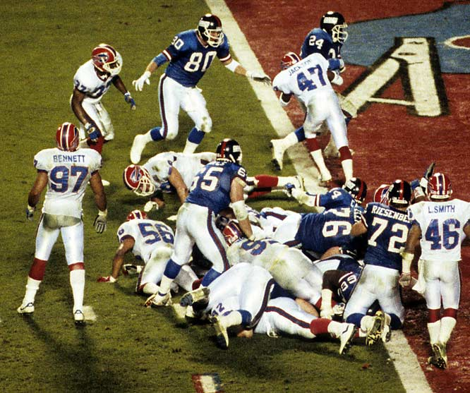 New York's strategy in Super Bowl XXV boiled down to one principle: Keep Buffalo's high-powered offense off the field. The approach worked to perfection in the team's first possession after halftime. Facing a slim 12-10 deficit, Jeff Hostetler directed Big Blue on a masterful 14-play, 75-yard touchdown drive culminating with Ottis Anderson's one-yard touchdown run. The sequence consumed 9:29 of game clock (a Super Bowl record) as New York overcame four third-down situations. The Giants would defeat the Bills, 20-19, establishing another Super Bowl record for time of possession: 40 minutes and 33 seconds.