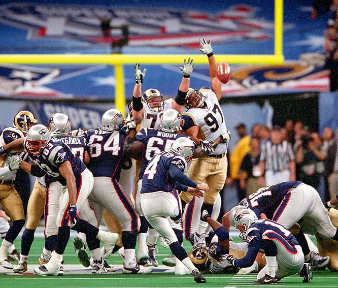 Entering the fourth quarter with a 17-3 lead, two-touchdown underdog New England watched their lead fritter away thanks to a pair of St. Louis touchdowns. The Patriots took over possession with 90 seconds remaining and no timeouts, prompting John Madden to suggest New England run out the clock and play for overtime. But Tom Brady completed three short passes to J.R. Redmond and two more to Troy Brown. One last connection with Jermaine Wiggins brought New England within field goal range as Brady spiked the ball with seven seconds left. The Pats hung on for the improbable upset when Adam Vinatieri split the uprights just moments later -- giving birth to a dynasty.