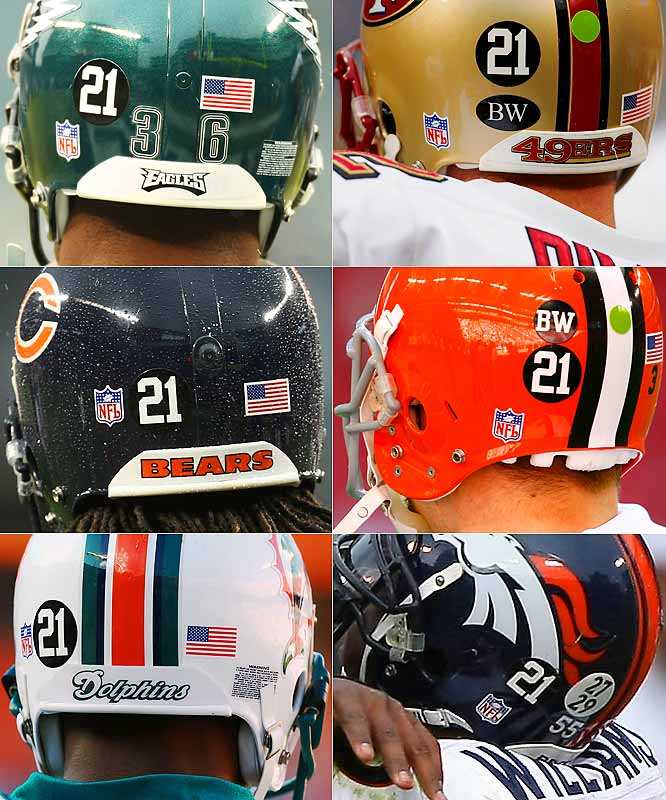 "All teams wore a ""21"" helmet decal, which led to a crowded rear-helmet for the Broncos who already had their dual memorial for Darrent Williams (27) and Damien Nash (29). The Browns also added a ""BW"" decal this week in memory of Hall of Famer Bill Willis, not to be confused with the ""BW"" decal for Bill Walsh that the 49ers have been wearing all season."