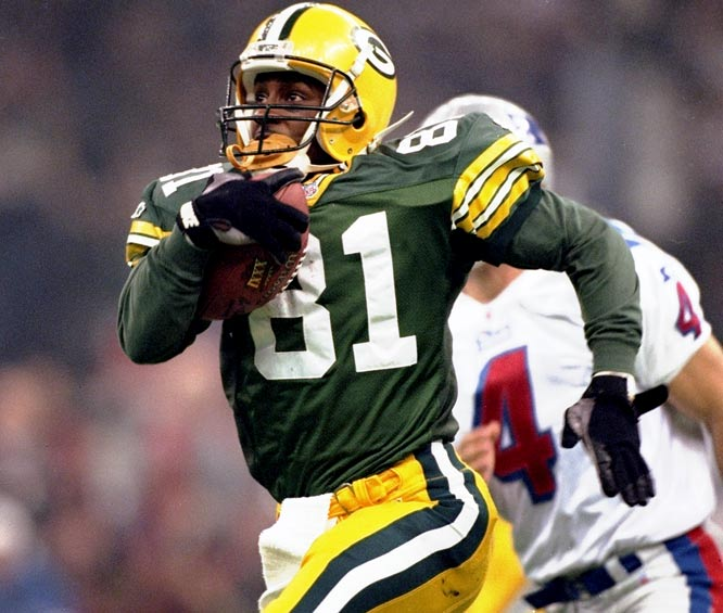 The former Heisman Trophy winner never delivered on his promise as a receiver, but he had eight career punt return touchdowns and earned MVP honors for Super Bowl XXXI when he had 244 total return yards and a kickoff return for a touchdown.