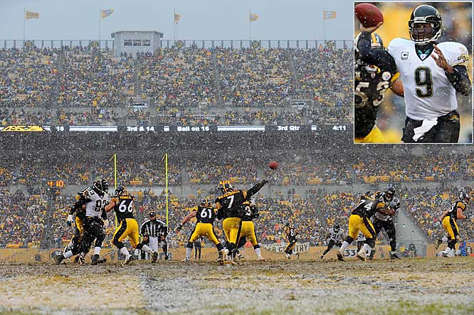 Ben Roethlisberger and David Garrard, inset, each managed to complete three touchdown passes in the game.