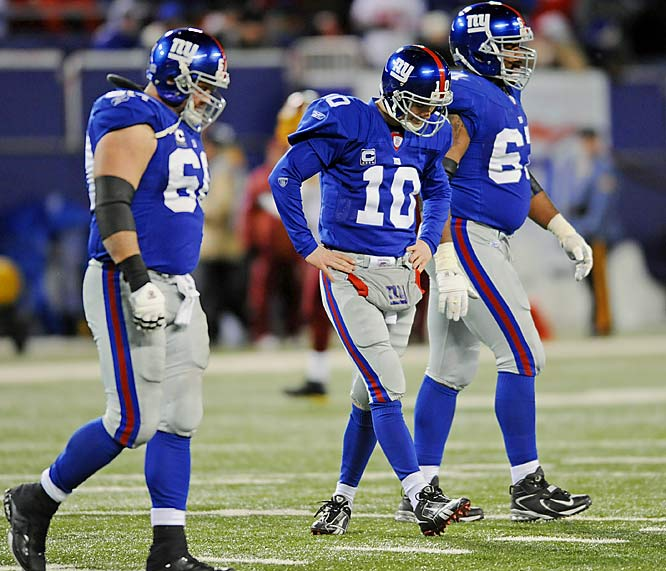 The swirling wind knocked down passes, blew rolling punts 20 yards and made life miserable for both offenses at Giants Stadium.  Eli Manning had a horrible night, completing 18 of 52 passes for 184 yards in a game in which his receivers dropped 12 passes.
