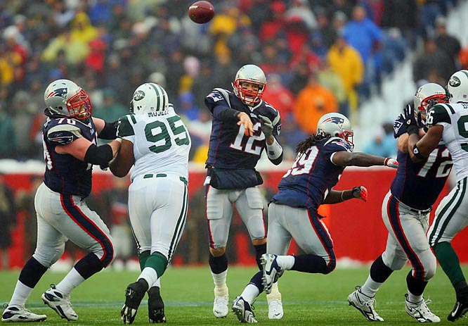Brady didn't throw a touchdown pass for the first time this season and completed 14 of 27 passes for 140 yards and an interception.