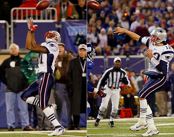 After just underthrowing a deep pass to an open Randy Moss in the fourth quarter, Tom Brady tried again on the next play to connect with Moss for 65-yard touchdown pass.  Brady took the single season record with 50 touchdown passes and Moss with 23 touchdown receptions.