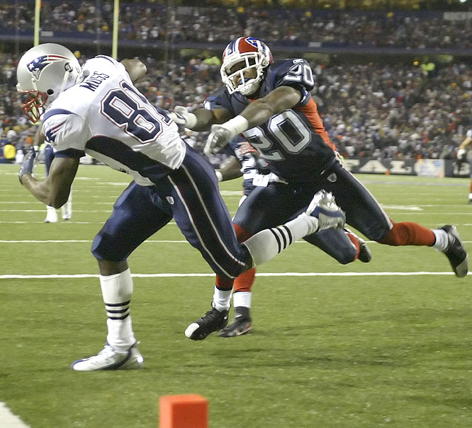 The Patriots showed no rust after a week off, scoring a season-high 56 points against the helpless Bills at Ralph Wilson Stadium. Randy Moss hauled in a career-high four touchdowns catches, continuing his amazing season.