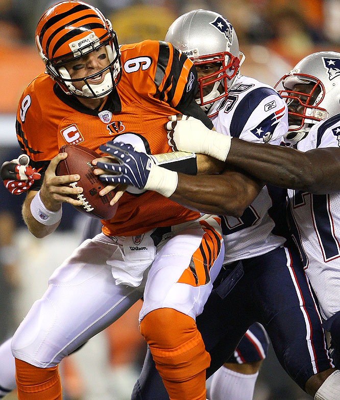 In front of a nationwide audience on Monday Night Football in Cincinnati, the Patriots had no trouble dismantling the Bengals. Free-agent acquisition Adalius Thomas (96) had his first sack of the season, taking down Cincy QB Carson Palmer.