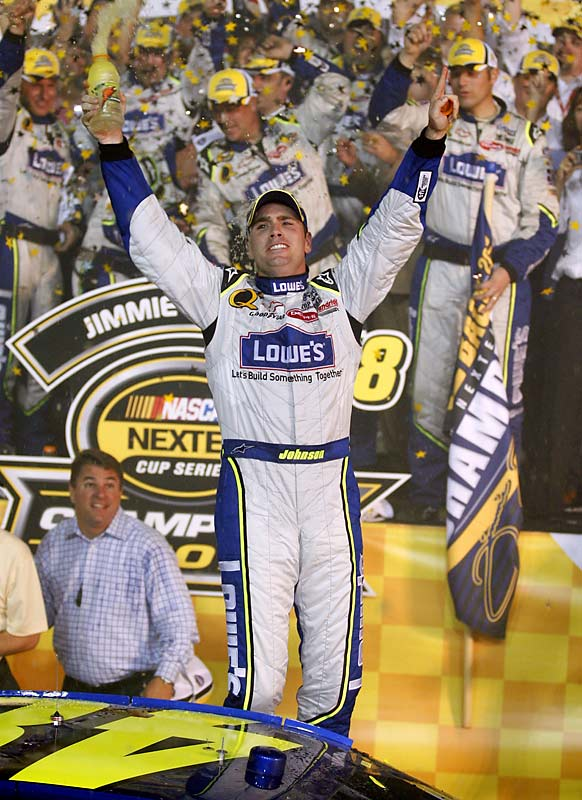 Jimmie Johnson became the first repeat champion since Jeff Gordon accomplished the feat in 1997 and 1998.