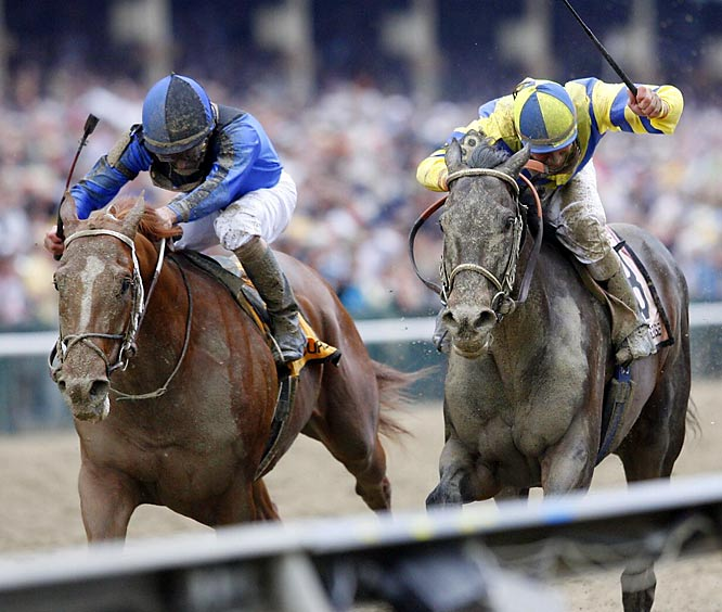 Curlin (left) used a late charge to edge Kentucky Derby winner Street Sense to end any hope of a Triple Crown.