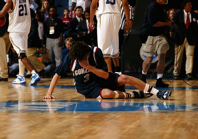 Adam Morrison could do nothing but collapse on the floor in tears after his Gonzaga squad was eliminated from the 2006 Sweet 16, thus ending Morrison's college career.