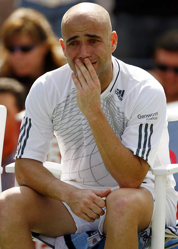 After losing his final tour event of his career -- a third-round loss to Benjamin Becker --  Andre Agassi is reduced to tears.