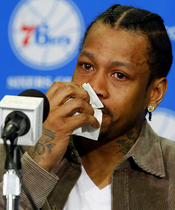 Allen Iverson isn't done with basketball just yet -- he's returned to play with the Philadelphia 76ers.  At a press conference announcing the move, Iverson was overcome with emotion at the idea of returning to the team he lead to the NBA finals in 2001.