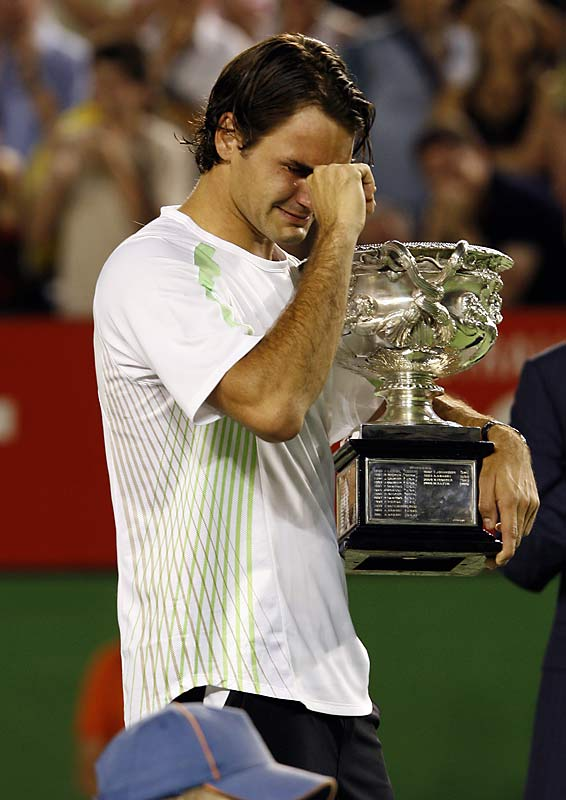 The normally stone-faced Roger Federer couldn't control his emotions after defeating Marcos Baghdatis to claim the Australian Open.
