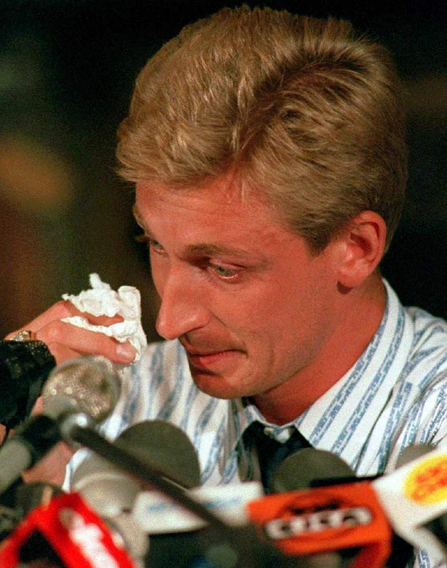 Wayne Gretzky sheds a tear in his final press conference before leaving Edmonton to play for the Los Angeles Kings.