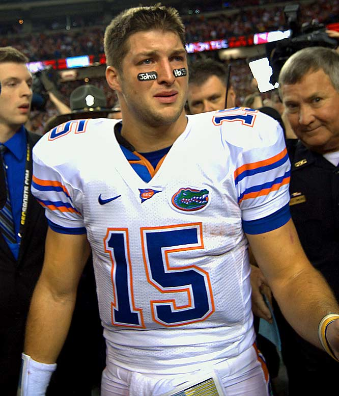 After No. 1 ranked Florida fell to No. 2 ranked Alabama in the SEC Championship, the Gators QB couldn't contain himself; he started to cry.  Tebow, who threw one interception during the game, had dreams of a third national championship before the Tide rolled over the Gators 32-13.