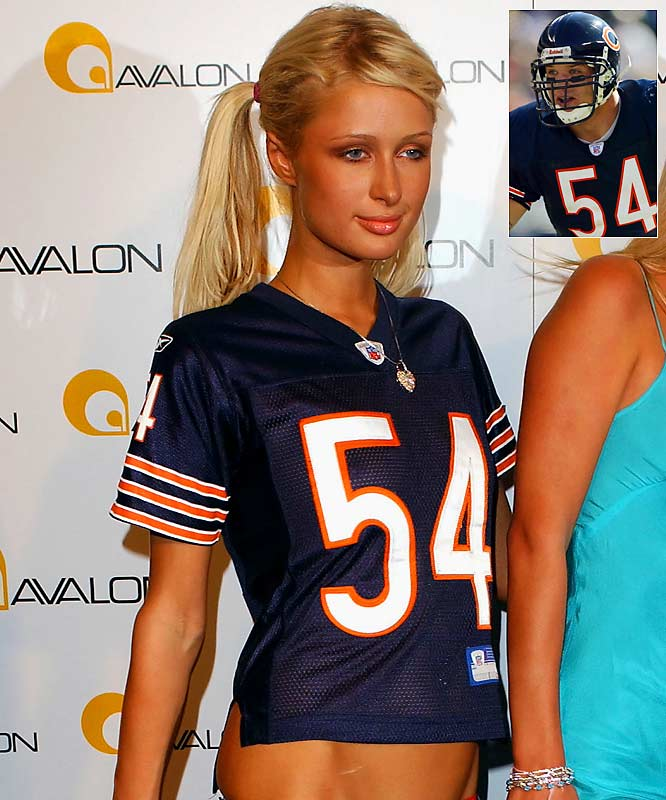 The Bears' star linebacker had his worst season statistically in 2003 (2 1/2 sacks) after being spotted with the hotel heiress socialite in Las Vegas. Hilton also attended a Bears home game wearing his jersey shortly after; Chicago lost. Urlacher would not return to form until 2005, when he played in all 16 games and made 121 tackles with six sacks.
