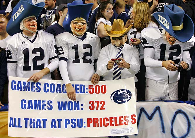 These Penn State fans manage to congratulate head coach Joe Paterno and poke fun at the Texas A&M Aggies 12th man  -- all in the same picture.