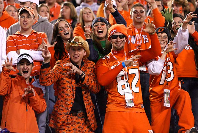 Simply put, this Cowboy's head-to-toe Oklahoma State suit is the best outfit we've seen all season. Congratulations.