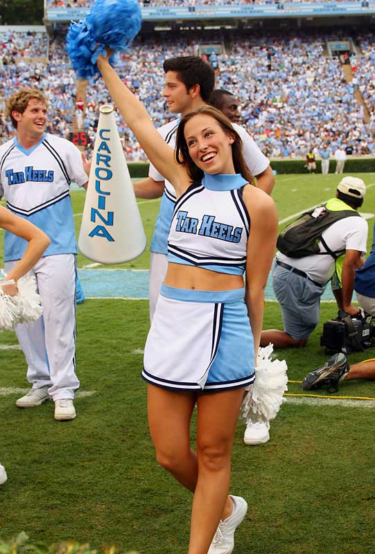Meet Amber, a senior at North Carolina and proud member of the UNC cheer squad. When she's not rooting on her Tar Heels, you can find Amber studying psychology (her favorite class) or hating on Mandy Moore (who annoys the hell out her). Wanna learn more? Click on the 20 Questions link below.