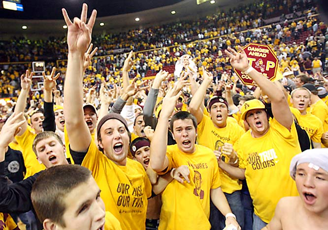 Arizona State students were in full party mode after the Sun Devils' 64-59 overtime victory over Arizona.