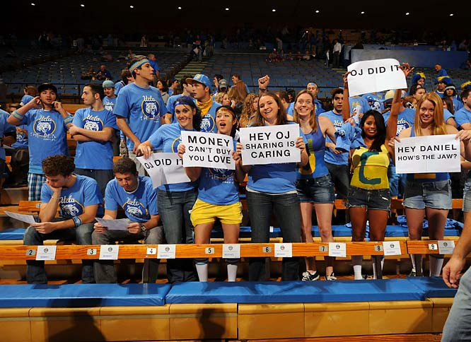 UCLA fans prepare for USC freshman sensation O.J.  Mayo's first game at Pauley Pavilion.