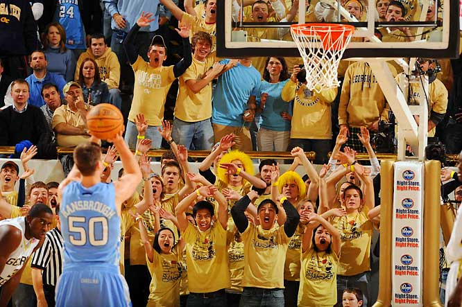 The Georgia Tech student section lets Tyler Hansbrough hear it during the Yellow Jackets-Tar Heels matchup in Atlanta.