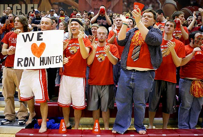 The IUPUI student section shows their love for coach Ron Hunter.