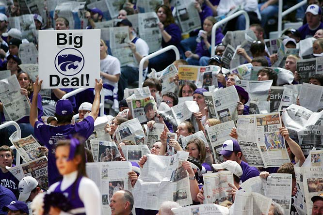 Kansas State fans do their best to ignore the starting lineup of Iowa State during Saturday's Wildcats-Cyclones game at Bramlage Coliseum.