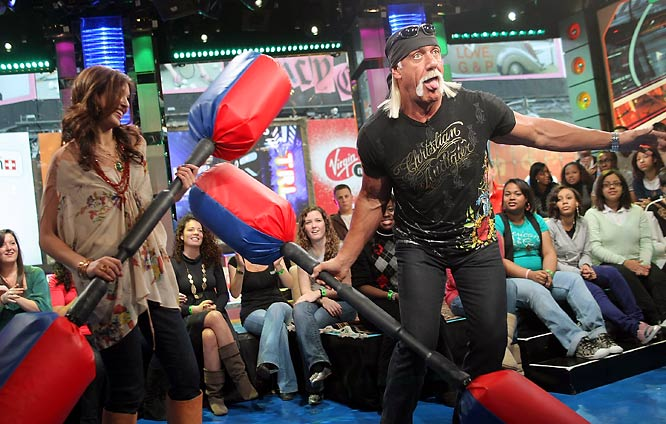 Hulk Hogan took a break from the serious business of wrestling to promote 'American Gladiators' on MTV's 'TRL' earlier this week.