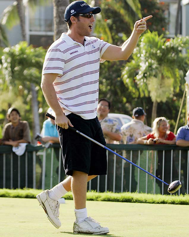 'Happy Gilmore' lives on as Adam Sandler teed off in the pro-am event of the Sony Open golf tournament in Honolulu on Wednesday.