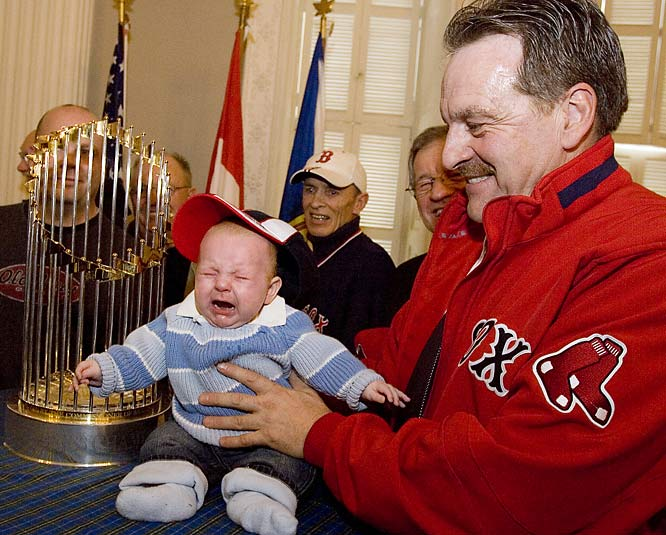 The Red Sox's World Series trophy made a trip to Nova Scotia earlier this week, but the citiy's Tourism Minister, Bill Dooks, must not have known that his grandson is a Yankees fan.
