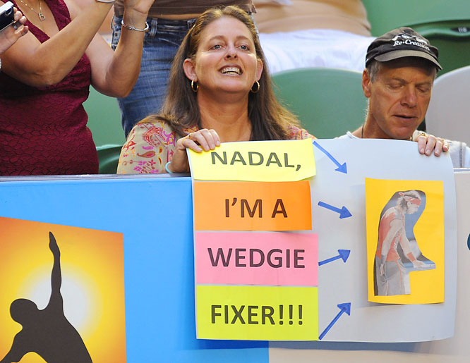 Could a Maria Sharapova fan get away with holding up this sign?