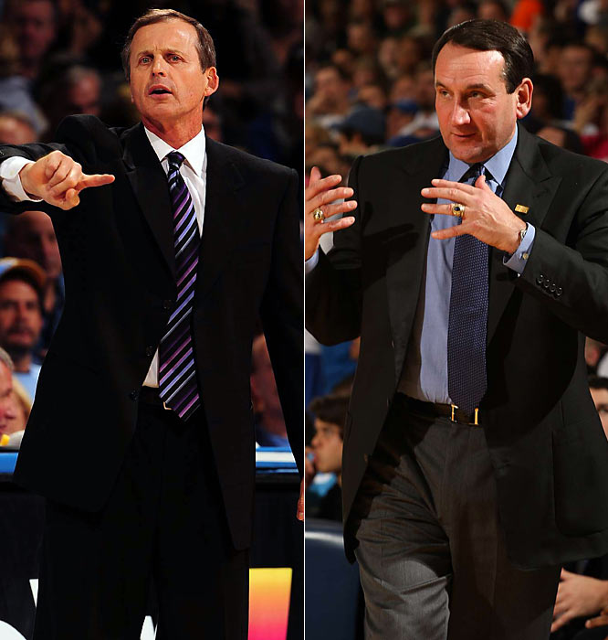 Both Barnes (left) and Krzyzewski claim to have borrowed principles from the Phoenix Suns in order to revamp their college offenses. Texas and Duke play up-tempo attacks that rely on spacing rather than size, and are well-suited for both teams' array of athletes on the perimeter.<br><br>Send comments to siwriters@simail.com.