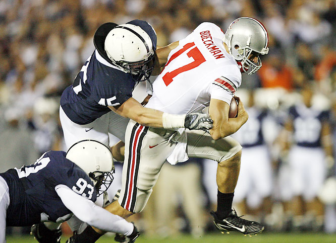 Ohio State had no trouble dealing with a hostile Beaver Stadium crowd in this much-anticipated night game. Todd Boeckman threw for 253 yards and three touchdowns, while Beanie Wells ran for 133 yards.