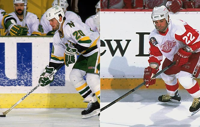 No player in league history endured a longer drought between Stanley Cup Finals appearances than Ciccarelli, who many consider the best player to never win an NHL title. The Canadian-born winger scored 14 postseason goals as a rookie to help lead the Minnesota North Stars to their first-ever Finals -- before dropping a five-game series against the heavily favored Islanders. Cicarelli returned to the brink of the championship 14 seasons later as a member of a Detroit team that entered the playoffs with the league's best record -- but a surprising four-game sweep at the hands of New Jersey promptly ended his title hopes.