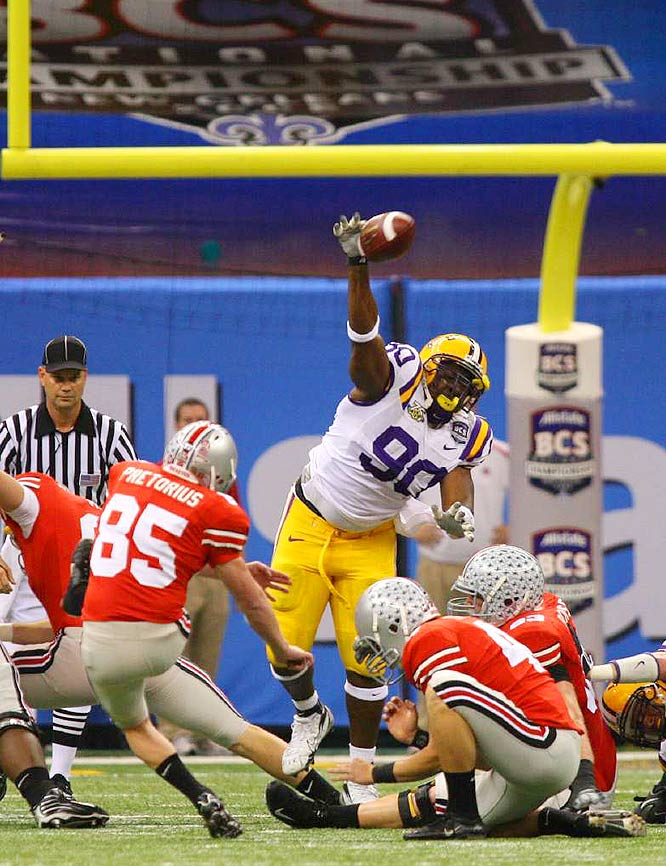 In what may have been the play of the game, LSU sophomore defensive end Ricky Jean-Francois blocked a field goal attempt by OSU's Ryan Pretorius to keep the game tied at 10. Jean-Francois went on to win Defensive MVP honors.
