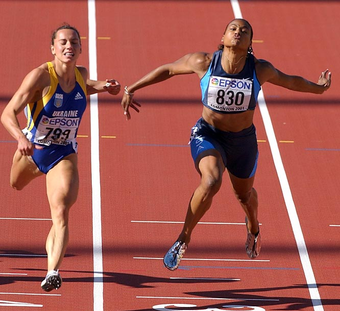 Loses her first 100 meter race in six years at the World Championships in Edmonton, where she did collect two golds (200, 4x100 relay).