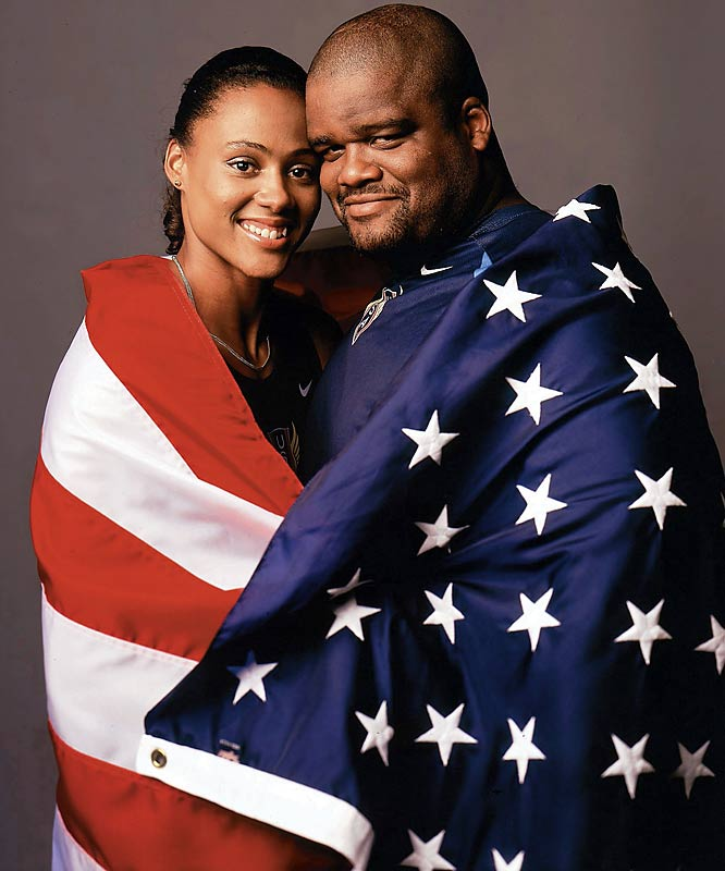 Marries shot putter C.J. Hunter, both of whom have designs on competing in the 2000 Olympics in Sydney.