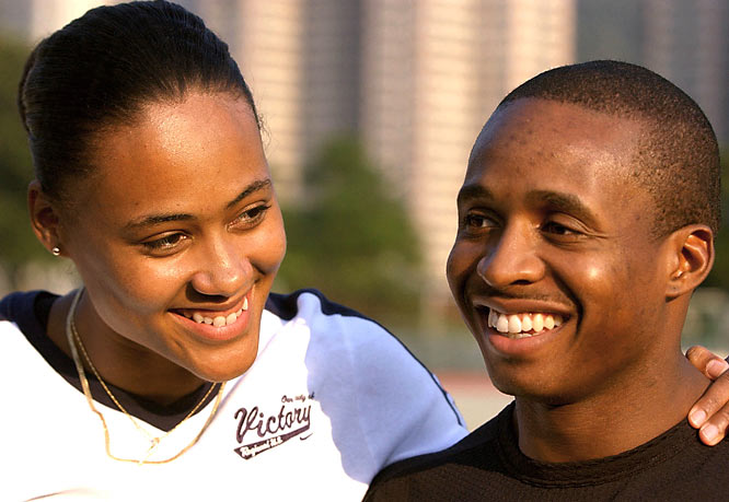 Jones and world class sprinter Tim Montgomery announce the birth of their son. Jones misses the 2003 World Championships but prepares for the 2004 Olympics.