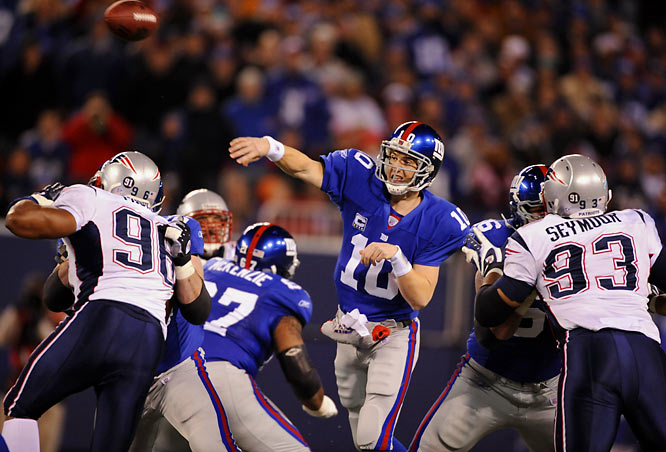 The Patriots entered Super Bowl XLII with a perfect 18-0 record and were 12-point favorites against the Giants. However, Tom Brady couldn't get on track against a tough New York pass rush, and a miraculous David Tyree reception helped the Giants score a late touchdown and secure a 17-14 victory.