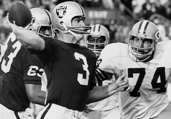 Daryle Lamonica and the Raiders had dominated the AFL in 1967, finishing 13-1 and beating Houston 40-7 in the AFL Championship Game. But no one cared since the NFL was still considered far superior. The Packers were two-touchdown favorites and came through with a 33-14 win -- the final championship for Vince Lombardi.
