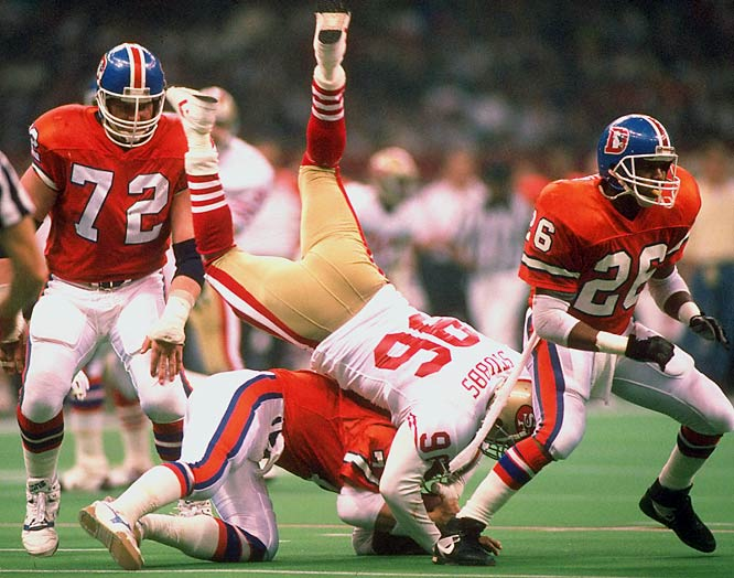 John Elway and the Broncos had already dropped two Super Bowls in the last three years, and were 11-5 in the regular season. The Niners were 14-2 and looked unstoppable even though Bill Walsh had stepped down and George Seifert was the coach. San Francisco didn't disappoint, beating Denver 55-10 -- the biggest margin in Super Bowl history.