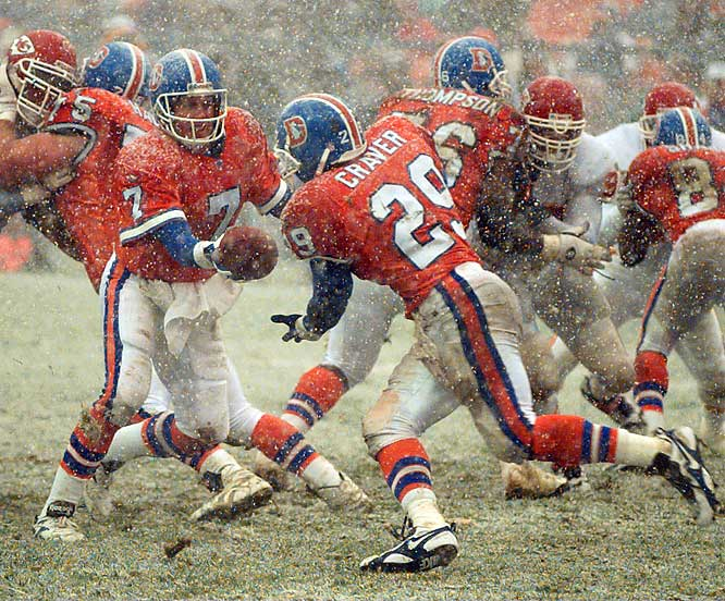 Denver may rightfully be called the home office for snow. In this game, the home town Broncos got buried by the Chiefs 21-7 despite the best efforts of quarterback John Elway and running back Aaron Craver.