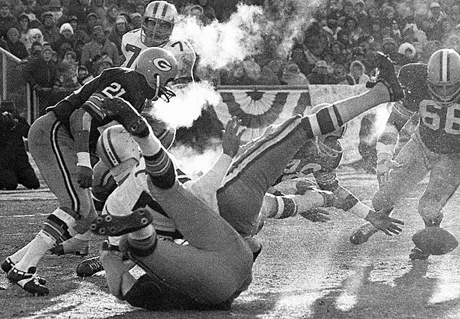Football was made to be played in the elements, and few places host the elements like Green Bay, where the Packers defeated the Dallas Cowboys 21-17 on Bart Starr's 1-yard sneak with 13 seconds left in the legendary Ice Bowl. Referees' whistles froze in the -13 air that felt like -46 when the wind blew.