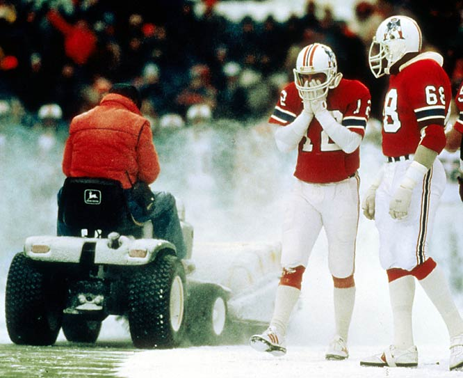Snow and the scrappy Patriots held the heavily-favored visiting Dolphins in a scoreless standstill until late in the fourth quarter. Then Pats head coach Ron Meyer asked a convict on work release to plow a spot on the field to improve the footing for John Smith, who booted the winning 33-yard field goal.