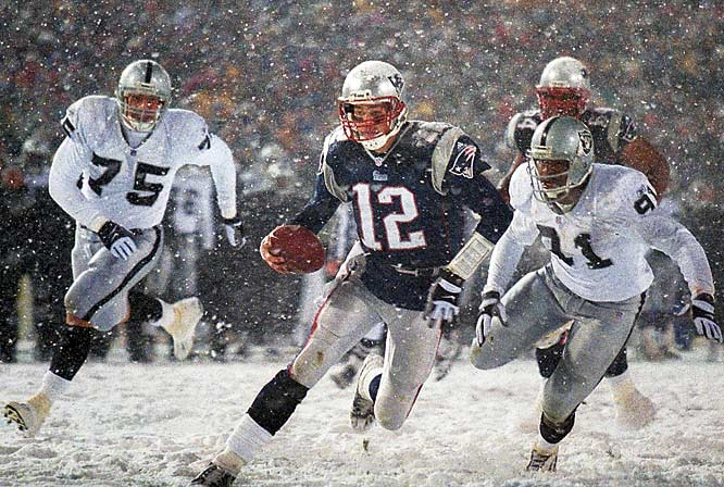 It is said the Patriots dynasty was born in the cold, snow and swirling wind after Tom Brady's apparent fumble on the Oakland 42 was reversed on review in the final 1:43. Given new life, the Pats kept driving and tied the game on Adam Vinatieri's field goal. They beat the Raiders in overtime, 16-13.