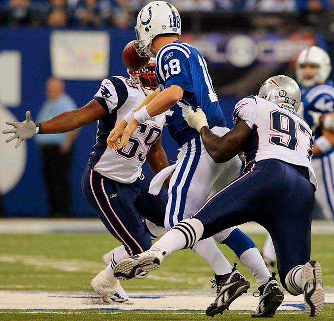 Jarvis Green forcing a fumble by Peyton Manning, which Rosevelt Colvin eventually recovers.