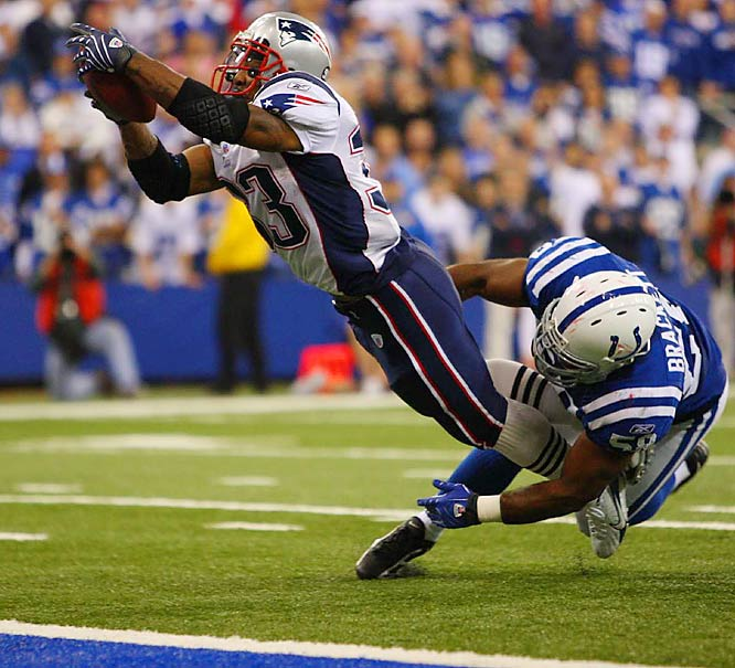 Kevin Faulk scoring the winning touchdown against the Colts.