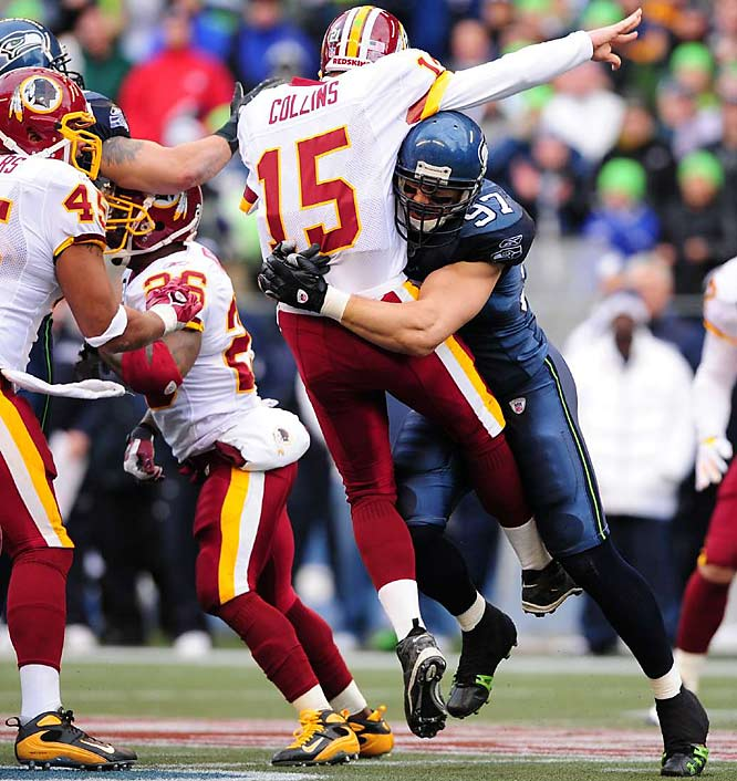 Patrick Kerney led Seattle's defense, as he's done all season, by pressuring quarterback Todd Collins.