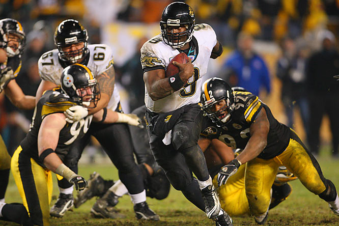 Quarterback David Garrard, not an exceptional runner, found a seam on a convert-or-else fourth-and-2 play and rambled 32 yards to the Steelers 11 with 1:56 left. This led to a game-winning 25-yard field goal by Josh Scobee with 37 seconds remaining.